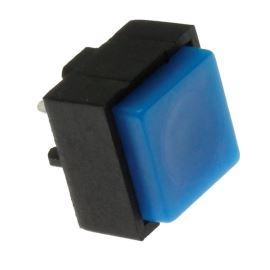 Tlačítkový spínač do DPS přímý spínací 1-pólový (ON)-OFF 0.25A 50V Jietong  PBS-18B BLUE