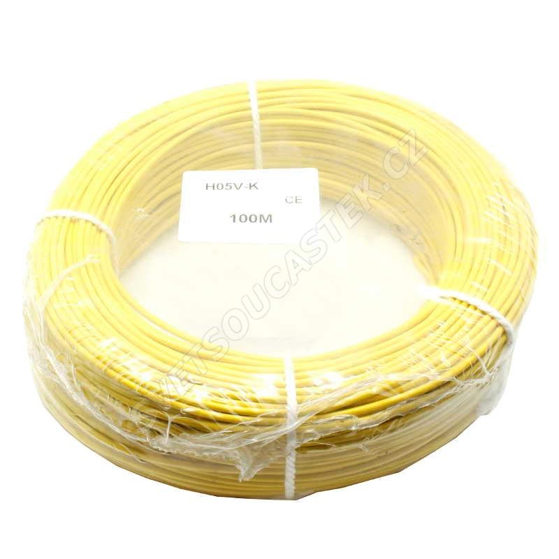 Jednožilový vodič lanko 1x0.5mm žlutý H05V-K (LgY, CYA) 300/500V
