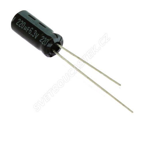 Elektrolytický kondenzátor radiální E 220uF/6.3V 5x11 RM2 85°C Jamicon SKR221MOJD11M