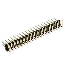 Lámací kolíková lišta dvouřadá 2x20 pinů RM2.54mm pozlacená úhlová 90° Xinya 112-A-D R 40G