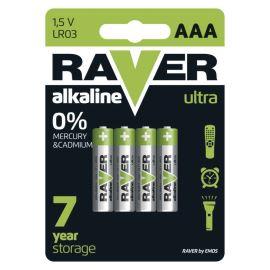 Alkalická baterie RAVER LR03 (AAA), 4 ks v blistru