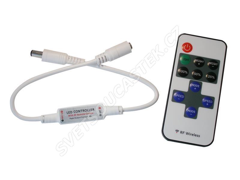 Stmívač MINI pro jednobarevné LED pásky s dálkovým s dálkovým ovladačem RF 433MHz